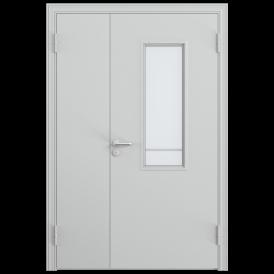 Дверь противопожарная двустворчатая 2ДП-1С (EI60) с огнестойким стеклоблоком 335 х 990 мм, Порошково-полимерное покрытие, —, RAL 7035 серый