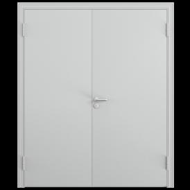 Дверь противопожарная двустворчатая 2ДП-1 (EI60)глухая равнопольная, Порошково-полимерное покрытие, —, RAL 7035 серый