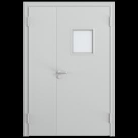 Дверь противопожарная двустворчатая 2ДП-1С (EI60) с огнестойким стеклоблоком 335 х 335мм, Порошково-полимерное покрытие, —, RAL 7035 серый