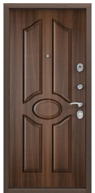 Стальная дверь DELTA 07, Скандинавская панель с ПВХ покрытием, СК-1, Орех лесной